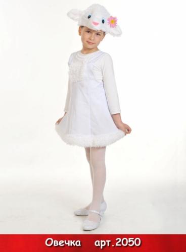 Карнавальный костюм Овечка ткань-плюш (сарафан, маска) 3-6 лет