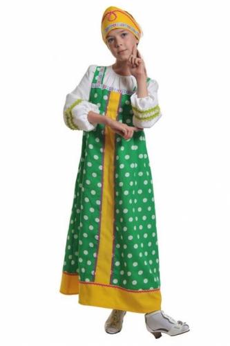 Карнавальный костюм Алёнушка в зелёном (сарафан, кокошник) 7-9 лет