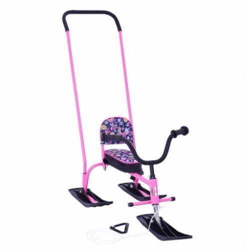 Снегокат Барс SNOWKAT Кроха с П-образным толкателем, розовая рама - 404