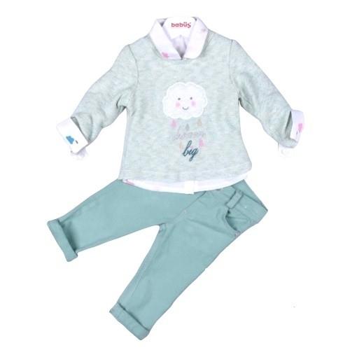 Комплект 3 предмета для девочки, размер 12 месяцев, фисташковый, Bebus