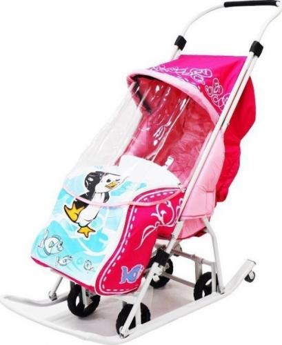 Санки-коляска Тяни-Толкай узор Пингвин цвет розовый