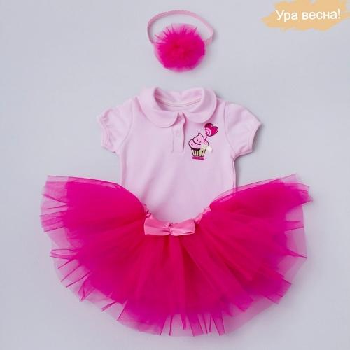 Комплект для девочки Малина демисезонный Крошкин дом р.22 (рост 68-74 см), темно-розовый