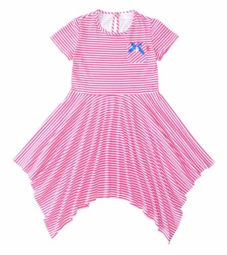 Ассиметричное платье для девочки Bon&Bon, бело-малиновая полоска, 6-9 лет