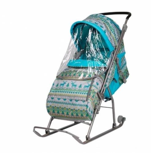 Санки-коляска Nika Умка 3 (У 4) узор вязаный, цвет бирюзовый
