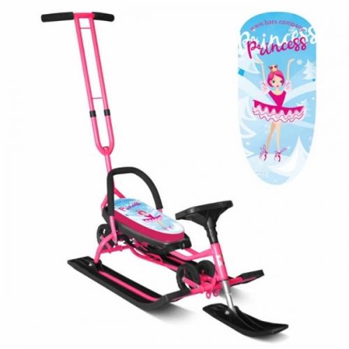 Снегокат Барс SNOWKAT Mobile Принцесса c Т-образным толкателем, розовая рама - 111