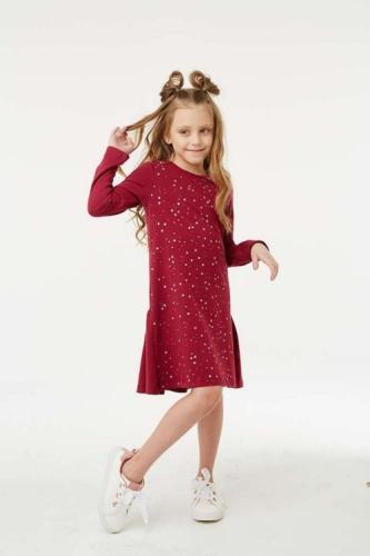 Платье для девочки размер 140, Звезды Бордовое, УМКА