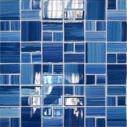 Мозаика Elada Crystal JSM-CH1022 лазурная полосатая mix size 32.7x32.7