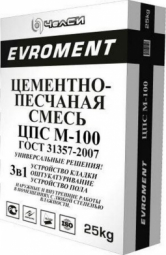 Смесь песчано-цементная ЧелСи EVROMENT М-100 25 кг