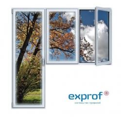 Балконный блок ПВХ Exprof 2100х2100 мм 2-ЛГ-ППО 2 стеклопакет