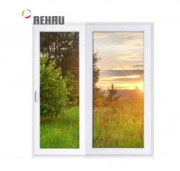 Окно раздвижное Rehau 2100x2000 двухстворчатое ЛР800/ПГ1200 1 стеклопакет