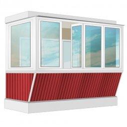Остекление балкона ПВХ Rehau с выносом и отделкой ПВХ-панелями без утепления 3.2 м Г-образное