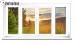 Окно раздвижное Rehau 2100X3000 четырехстворчатое 1 стекло