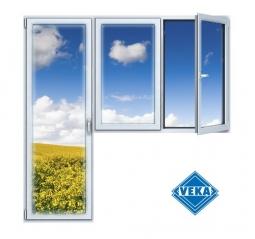 Балконный блок ПВХ Veka 2100х2100 мм 2-ЛГ-ППО 1 стеклопакет