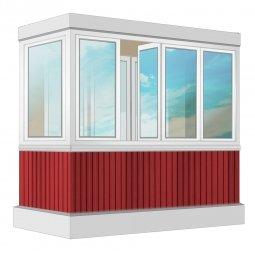 Остекление балкона ПВХ Rehau с отделкой ПВХ-панелями без утепления 2.4 м Г-образное